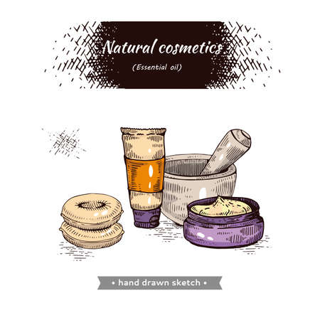 Natural cosmetic accessories. Detailed hand-drawn sketches, vector botanical illustration. Illusztráció
