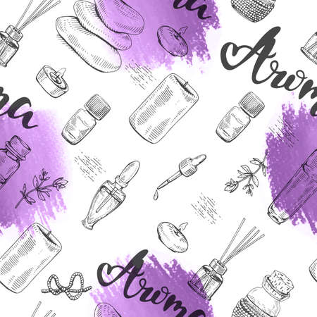 Seamless Pattern with aromatherapy accessories. Detailed hand-drawn sketches, vector botanical illustration.
