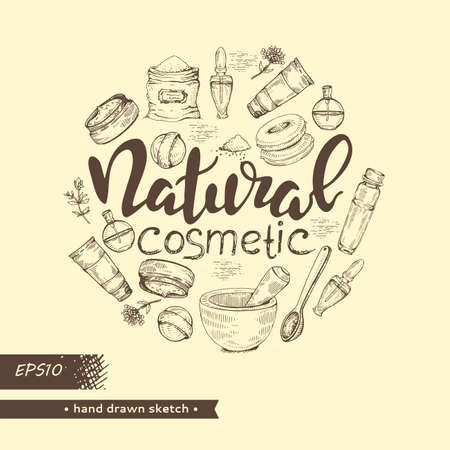 Circle filled natural cosmetic accessories and lettering natural cosmetic. Detailed hand-drawn sketches, vector botanical illustration. Illusztráció