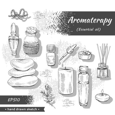 Collection of aromatherapy accessories. Detailed hand-drawn sketches, vector botanical illustration Illusztráció