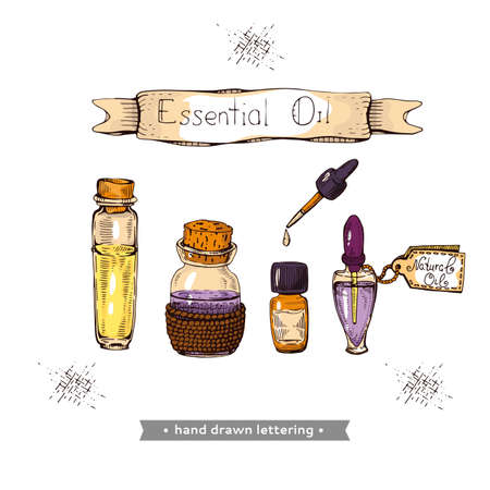 Aromatherapy accessory. Detailed hand-drawn sketches, vector botanical illustration Stock fotó - 162167088