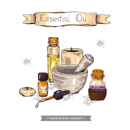 Aromatherapy accessory. Detailed hand-drawn sketches, vector botanical illustration Illusztráció