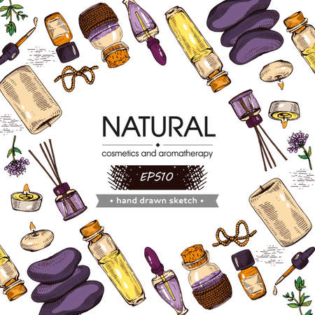Background filled with aromatherapy accessories and with empty circle inside. Detailed hand-drawn sketches, vector botanical illustration.