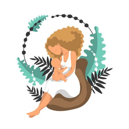 Woman breastfeeding her newborn baby in clutch position. Flat style vector illustration.