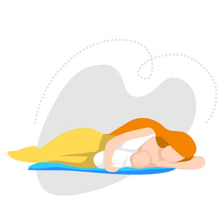 Woman breastfeeding her newborn baby in side-lying position. Flat style vector illustration.