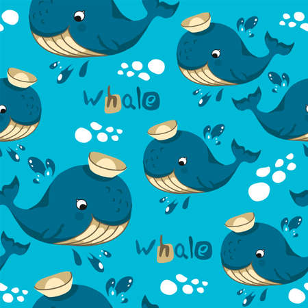 Seamless pattern in cartoon style, children's theme with fun and attractive whale. Vector illustration without outlines on a solid background.