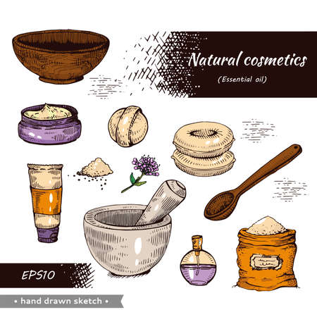 Collection of natural cosmetic accessories. Detailed hand-drawn sketches, vector botanical illustration. Illusztráció