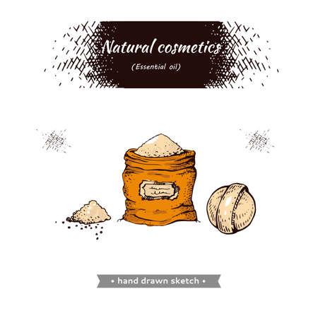 Natural cosmetic accessories. Detailed hand-drawn sketches, vector botanical illustration. Illusztráció