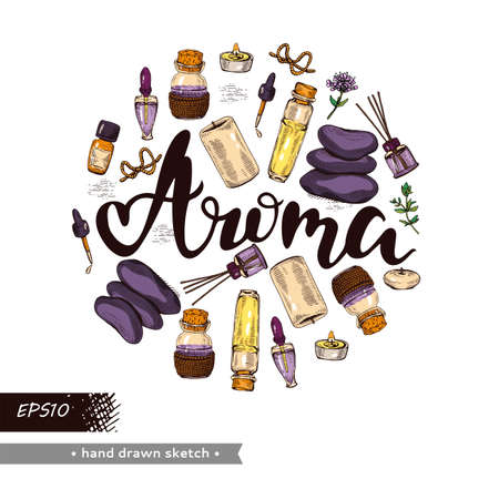 Circle filled aromatherapy accessories and lettering aroma. Detailed hand-drawn sketches, vector botanical illustration.