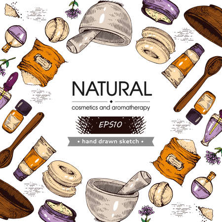 Background filled with natural cosmetic accessories and with empty circle inside. Detailed hand-drawn sketches, vector illustration.