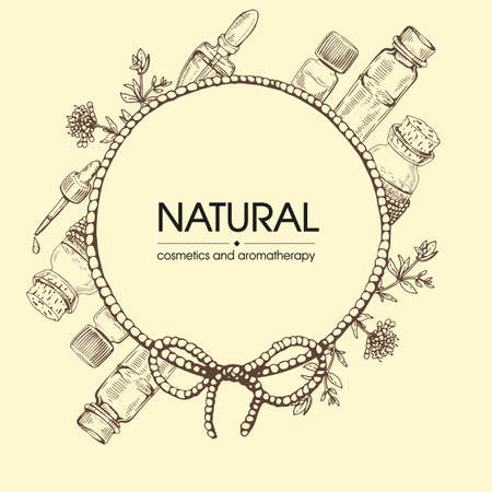 Frame with aromatherapy accessories. Detailed hand-drawn sketches, vector botanical illustration.
