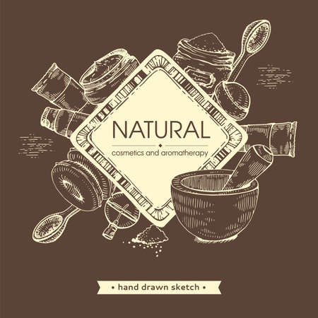Frame with natural cosmetic accessories. Detailed hand-drawn sketches, vector botanical illustration. Illusztráció