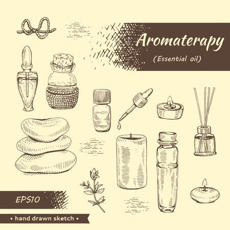 Collection of aromatherapy accessories. Detailed hand-drawn sketches