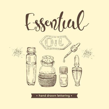 Aromatherapy accessories and lettering essential oil. Illusztráció
