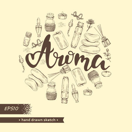 Circle filled aromatherapy accessories and lettering aroma . Illusztráció