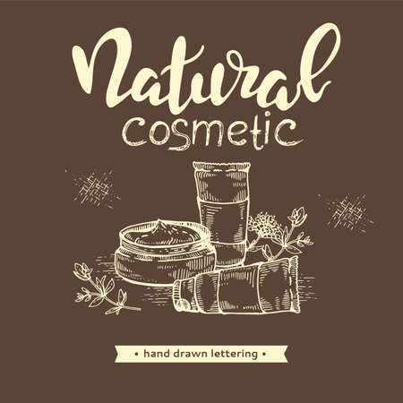 Natural cosmetic accessories and lettering natural cosmetic.