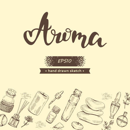 Background with aromatherapy accessories and lettering Aroma.