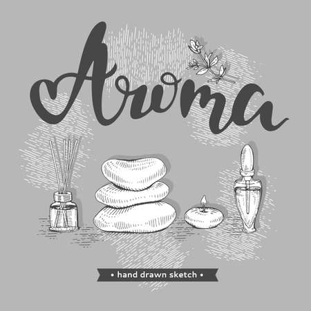 Aromatherapy accessories and lettering Aroma.