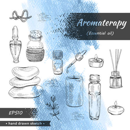 Collection of aromatherapy accessories . Detailed hand-drawn sketches Stock fotó