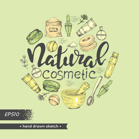 Circle filled natural cosmetic accessories and lettering natural cosmetic .