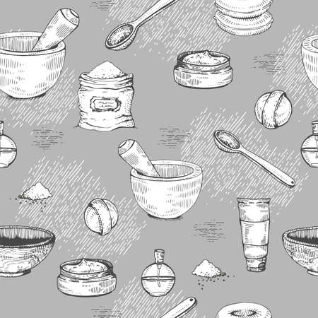 Seamless Pattern with natural cosmetic accessories .