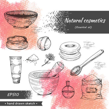 Collection of natural cosmetic accessories . Stock fotó