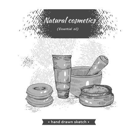 Natural cosmetic accessories . Detailed hand-drawn sketches Illusztráció