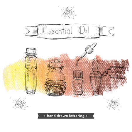 Aromatherapy accessory . Detailed hand-drawn sketches