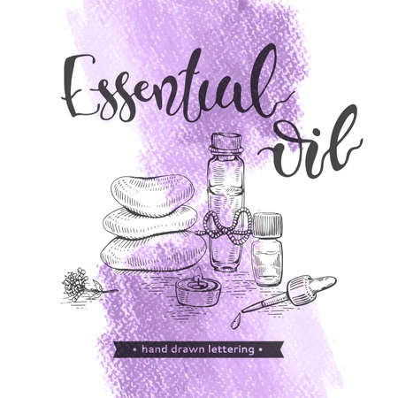 Aromatherapy accessories and lettering essential oil. Stock fotó
