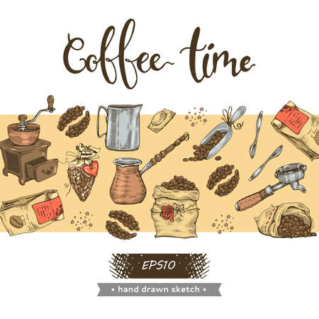 Illstration of coffee tools and equipment. Coffee time. Hand drawn sketch. Vector illustration.