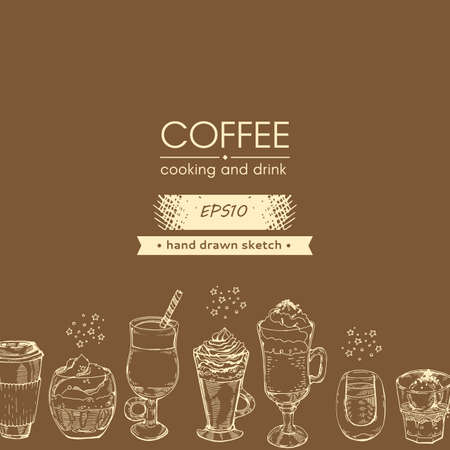 Hand drawn sketch with different coffee drinks and desserts. Vector illustration.