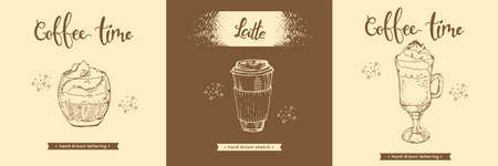 Mug with coffee drinks, paper coffee cup. Hand drawn sketch and lettering, vector illustration.