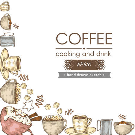 Hand-drawn sketch coffee cooking and drinks, vector illustration.