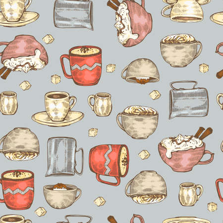 Detailed hand-drawn sketch coffee cups and desserts on the blue background, vector illustration. Иллюстрация