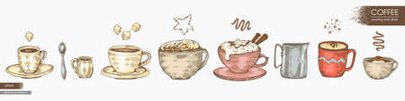 Hand-drawn sketch list of different coffee cups and cooking, vector illustration.