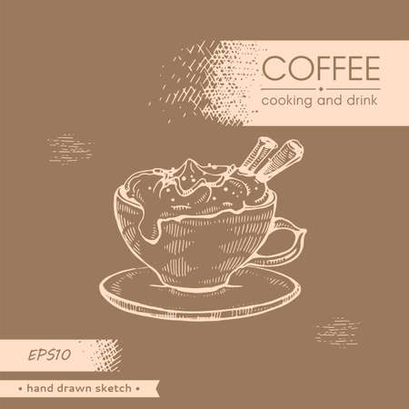 Hand-drawn sketch coffee cooking with cream, vector illustration.