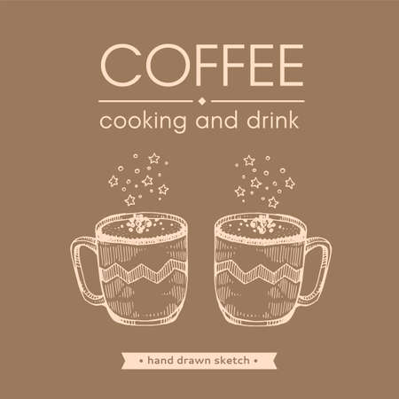 Hand-drawn sketch cups with coffee drinks, vector illustration.