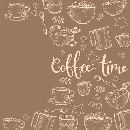 Hand-drawn sketch different coffee cooking and drinks, vector illustration.