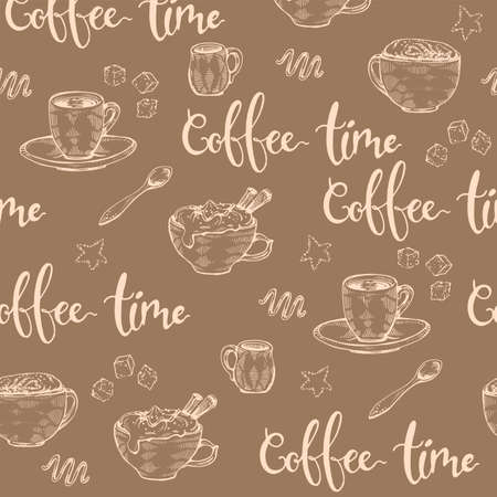 Detailed hand-drawn sketch different coffee cups and desserts on the brown background, vector illustration. Иллюстрация