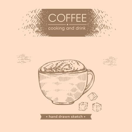 Hand-drawn sketch coffee drink with sugar, vector illustration.