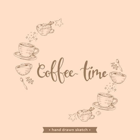 Hand-drawn sketch coffee drinks and desserts on the beige background, vector illustration.