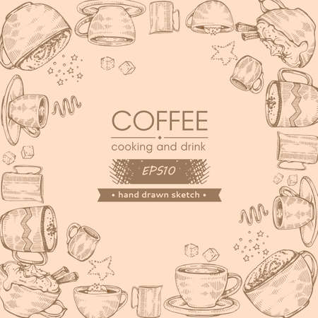Hand-drawn sketch coffee cooking and drinks, vector illustraion.