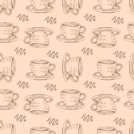 Detailed hand-drawn sketch coffee cups on the beige background, vector ilustration.