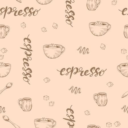 Detailed hand-drawn sketch coffee cups espresso, vector illustration. Иллюстрация