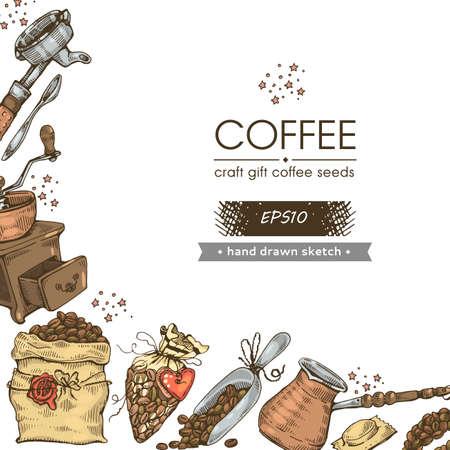 Coffee seeds. Image of coffee tools and equipment. Hand drawn sketch. Vector illustration.