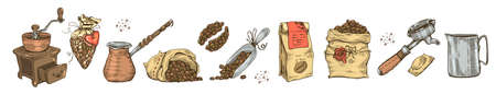 Image of different coffee tools and equipment. Coffee seeds. Vector illustration.