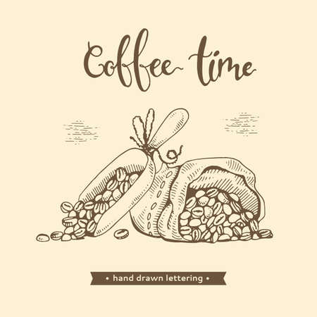 Coffee time. Coffee beans and grains. Hand drawn picture. Vector illustration. Иллюстрация