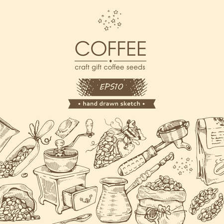 Coffee tools and drinks. Coffee craft, gift, seeds. Hand drawn sketch. Vector illustration.