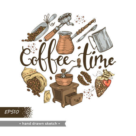 Coffee tools and grains.Coffee time. Detailed hand-drawn sketch. Vector illustration.