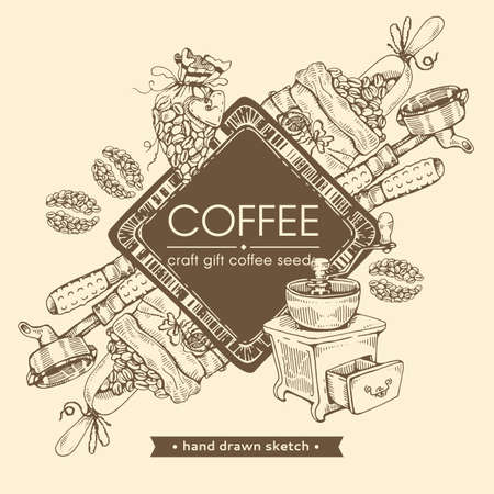 Picture of coffee tools and drinks. Coffee seeds, craft. Hand drawn sketch. Vector illustration.